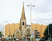 The ruined Charles Church, the city's memorial to the civilians killed in the Blitz and Drake Circus Shopping Centre behind