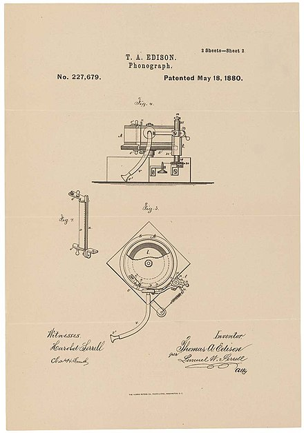 Patent drawing for Edison's phonograph, May 18, 1880 PhonographPatentEdison1880.jpg