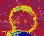 Dual-polarization radar image of an easily identifiable freezing layer, denoted by the yellow ring around the radar.png