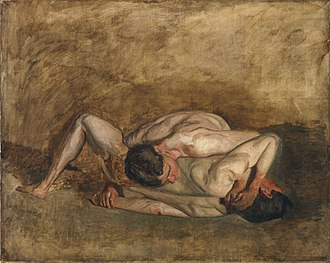 Wrestlers (Eakins) - G-319. Unfinished version of Wrestlers (1899). 40 x 50 1/16 inches (101.6 x 127.2 cm). Philadelphia Museum of Art