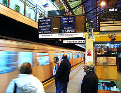 The next train indicators on the District line platforms