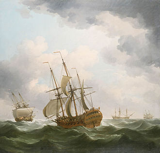 East Indiaman - East Indiamen in a Gale, by Charles Brooking, c. 1759