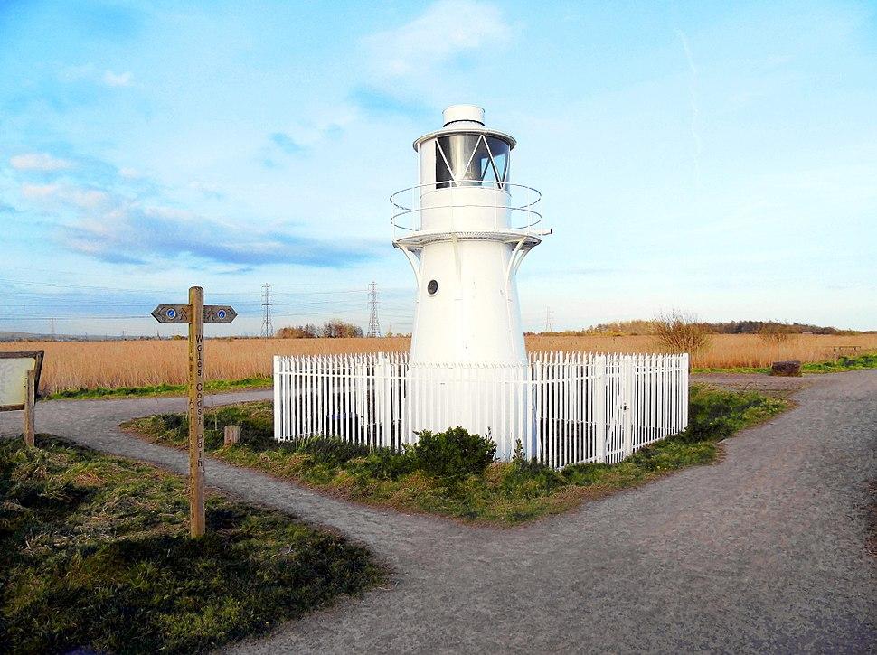 East Usk Lighthouse at Newport Wetlands RSPB Nature Reserve Facing Eastwards Towards Bird Hide