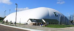 Eastern michigan University indoor practice field with polyester roof