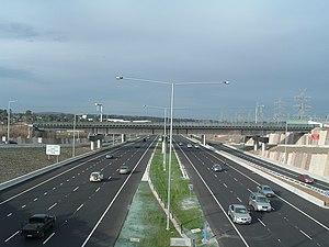 EastLink (Melbourne) - Maroondah Highway bridge, Ringwood looking towards the railway bridge