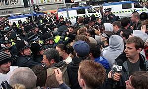 31st G8 summit - Protesters clash with the Greater Manchester Police officers who were deployed to Edinburgh at the start of the summit