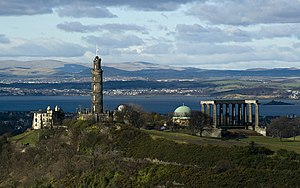 National Monument of Scotland - The National Monument (right), viewed from the Salisbury Crags with Nelson's Monument on the left.