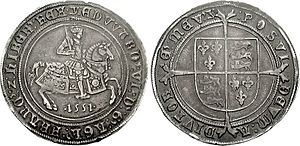 Crown (English coin) - The first English silver crown, that of Edward VI (fine silver, 41mm, 30.78 g, 9h; third period)
