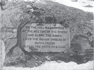Concord, Massachusetts - Photo of Egg Rock inscription, about 1900