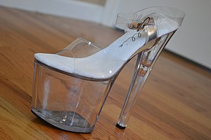 Platform shoe - An example of an 8-inch platform clear heel