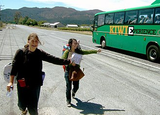 Hitchhiking - Two women hitchhiking in New Zealand in 2006