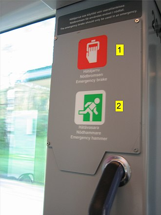 Tram accident - Emergency brake and emergency hammer near a tram door.