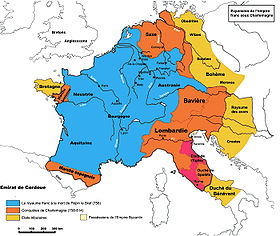 Carte rétrospective de l empire carolingien sous Charlemagne.