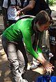 Employer of Welthungerhilfe desinfecting Hands.jpg