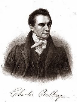 Engaving of Charles Babbage from Mechanics Magazine