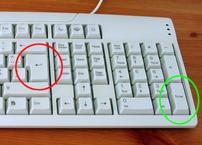Return (red circle) and Enter (green circle) b...