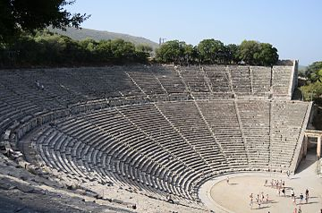 The Ancient Theatre of Epidaurus, still used for theatrical plays. Epidavros.JPG