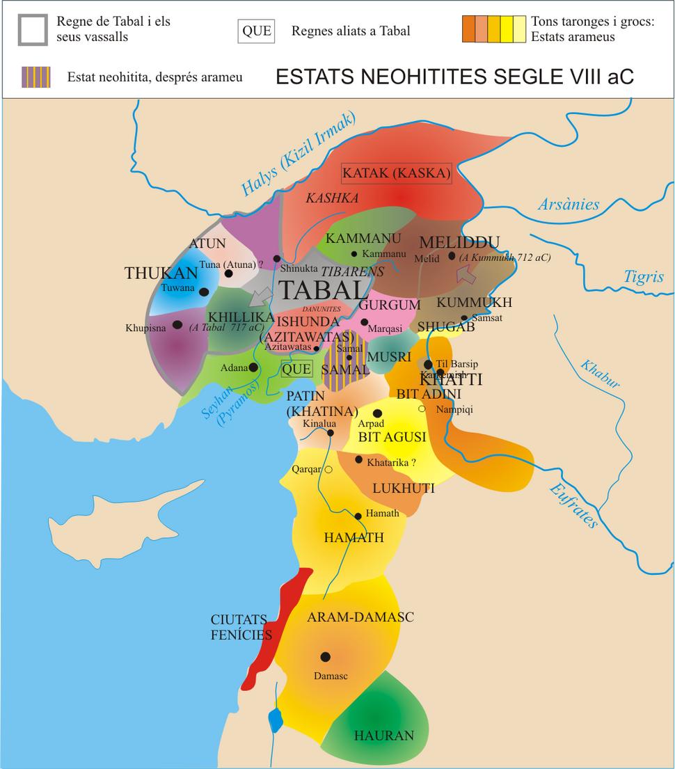 Estats neohitites i arameus a Síria al segle VIII aC