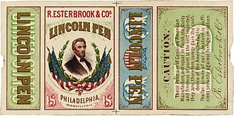 "Esterbrook - The ""Lincoln Pen"", packaging of 1866."