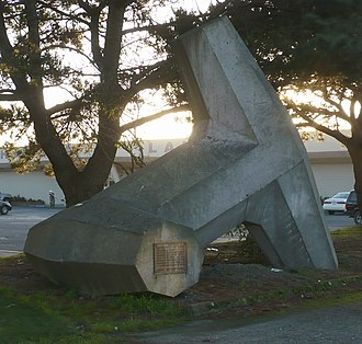 Humboldt Bay - One of the 4,796 dolosse made on the South Spit for use on the south and north jetties protecting the mouth of Humboldt Bay.  The only one not in the jetties is on display in front of the Eureka Chamber of Commerce.