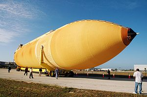 Space Shuttle external tank - A Space Shuttle External Tank (ET) on its way to the Vehicle Assembly Building.