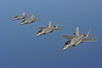 Military aircraft - United States Air Force F-35A Lightning II fighter aircraft fly in formation