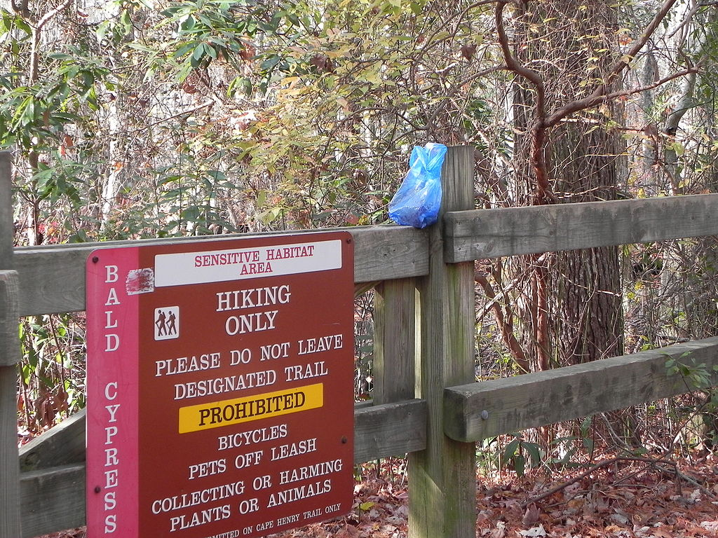 Though it's common practice to leave dog poop bags along the side of the trail, it's not exactly welcome among all users.