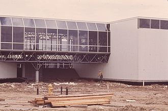 Caudill Rowlett Scott - Fodrea Community School, designed by Caudill, Rowlett, and Scott, during construction