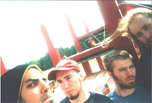 Fuck the Facts - Fuck the Facts Mullet Fever lineup ca. 2001. Left to right, Topon Das, Brent Christoff, Matt Connell, Tim Audette.