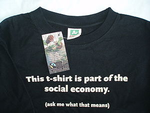 Fair trade certification - A T-shirt made from Fairtrade certified cotton.