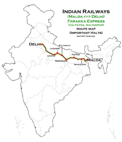 Farakka Express (Malda - Delhi) (via Sultanpur) Route map.png