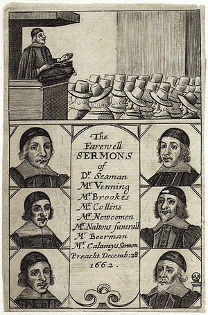 John Collins (Independent minister) - Farewell Sermons (1663), title page; besides one from John Collins, this work contained sermons by William Be(e)rman, Thomas Brooks, Edmund Calamy the Elder, Matthew Newcomen, Lazarus Seaman, and Ralph Venning, as well as a funeral sermon for James Nalton