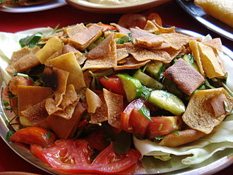 Levantine cuisine - Fattoush is a Levantine pita bread salad that includes mixed greens and other vegetables.