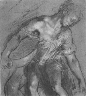 Communion of the Apostles (Barocci) - Study for the servant at the left front, ca. 1604