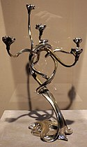 Fernand dubois, candelabro tulipani, 1899 ca., bronzo argentato