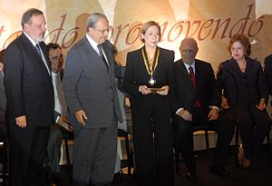 Fernanda Montenegro - The actress Fernanda Montenegro is awarded with the medal Euvaldo Lodi, celebrating the 70th anniversary of the Confederação Nacional da Indústria (CNI).