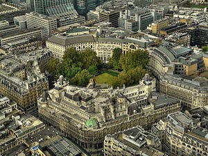 Finsbury Circus - Finsbury Circus from the southeast, as seen from the top of Tower 42.