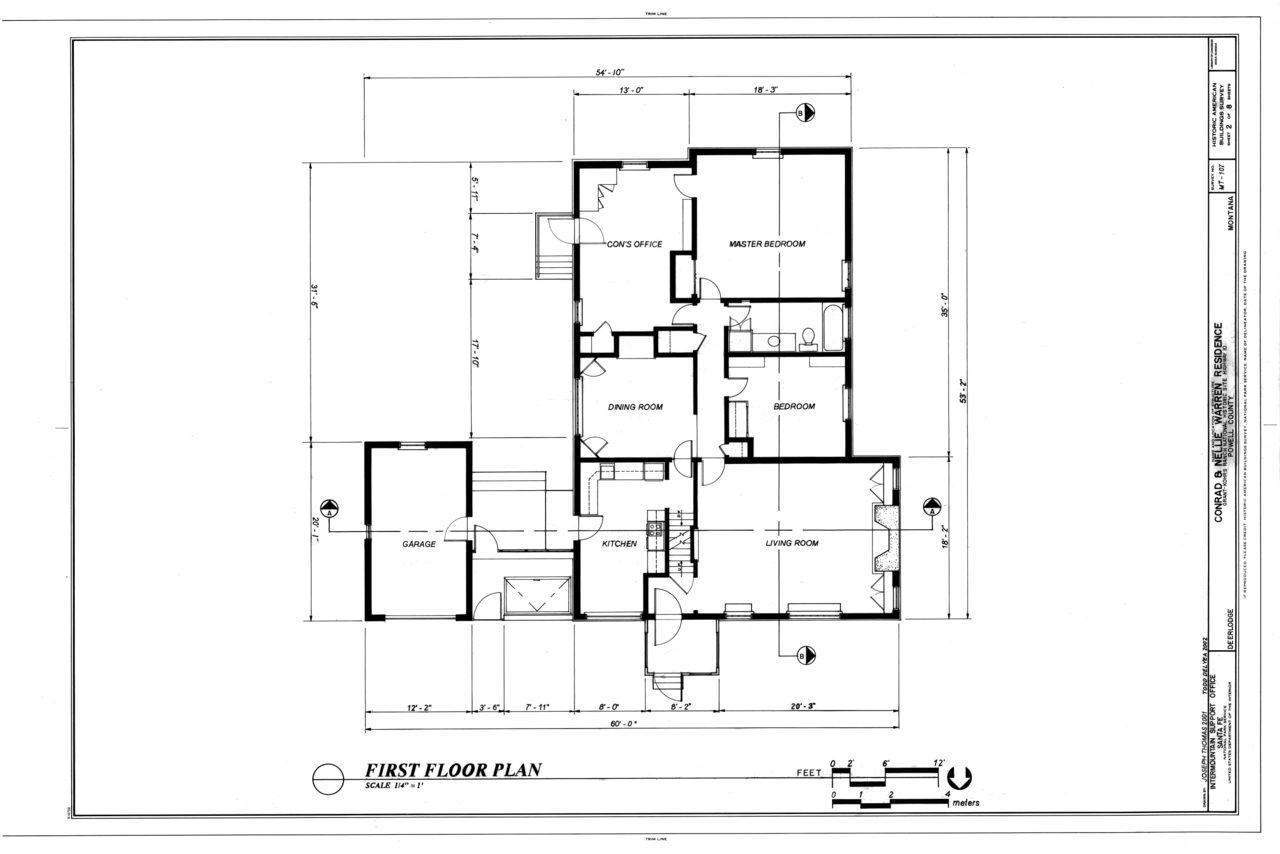 File first floor plan conrad and nellie warren residence for Floor sheet for office