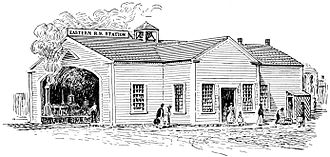Newburyport station - An early woodcutting of the first (1840-built) station
