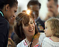 First lady Michelle Obama, left, greets U.S. military families at Royal Air Force (RAF) Mildenhall, England, July 29, 2012 120729-F-FV908-124.jpg