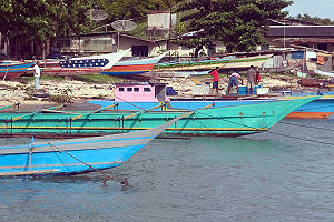 Biak - Fishing boats lined up at Kota Biak, Indonesia.