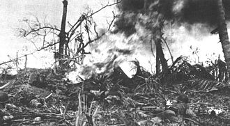 3rd Battalion, 3rd Marines - 3rd Battalion Marines engaging Japanese positions at Adelup Point on Guam with a flamethrower on 21 July 1944.