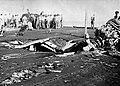 Flight deck damage aboard USS Belleau Wood (CVL-24) after she was hit by a Kamikaze, 30 October 1944.jpg