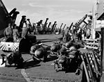 Flight deck of USS Antietam (CV-36) off Korea c1952.JPEG