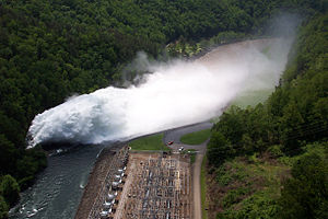 Fontana Dam - Fontana's spillway in operation
