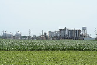 Illiopolis, Illinois - The Formosa Plastics plant near Illiopolis, (only a skeleton crew of maintenance personnel and security workers remain as of May 2009)