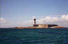 L'île de Fort-Cigogne vue depuis la mer.