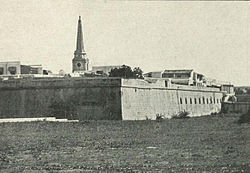 Corner of Fort St. George with cathedral, ca.1905