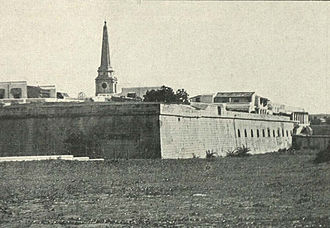 Fort St. George, India - Corner of Fort St George with cathedral, ca 1905