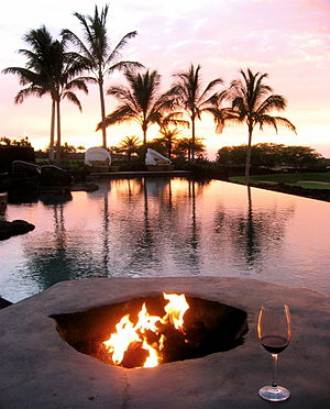Four Seasons Resort Hualalai - Sunset by the pool.